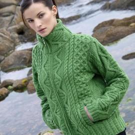 Grüne Aran Strickjacke mit Stehkragen für Damen